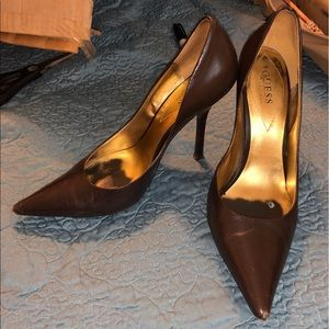 Chocolate brown Guess by Marciano stilettos 👠